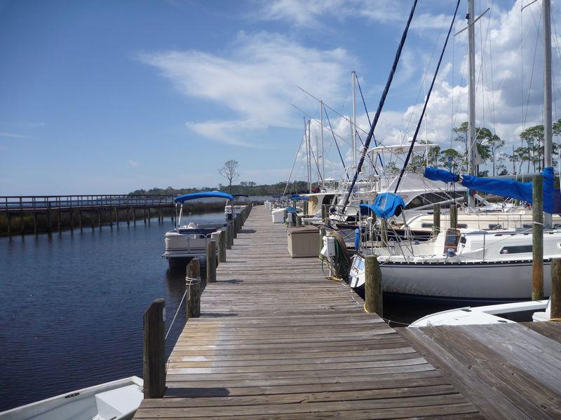 An access pier at Blue Water Bay Marina
