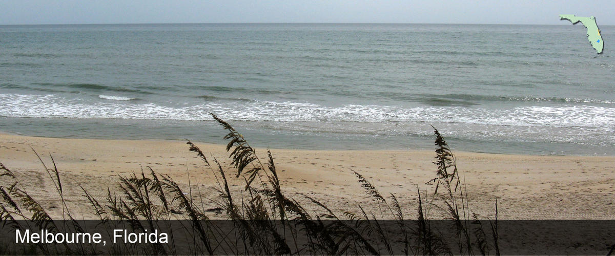 Looking through sea oats at the ocean in Brevard County, Florida