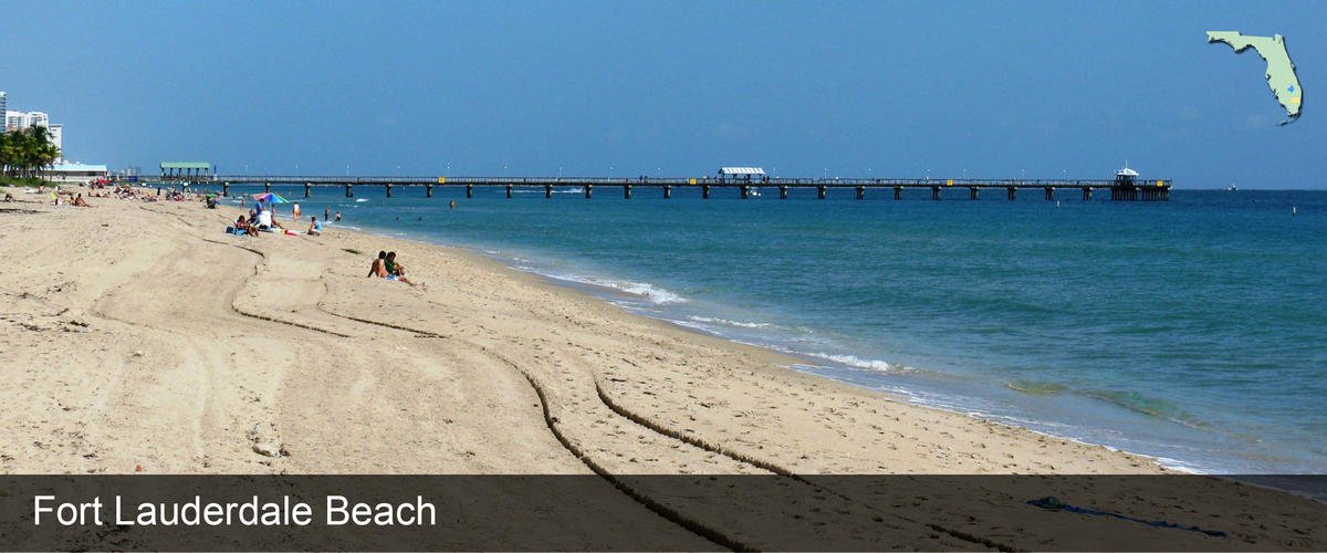 Looking down Fort Lauderdale beach at the sand and pier in Broward County, Florida