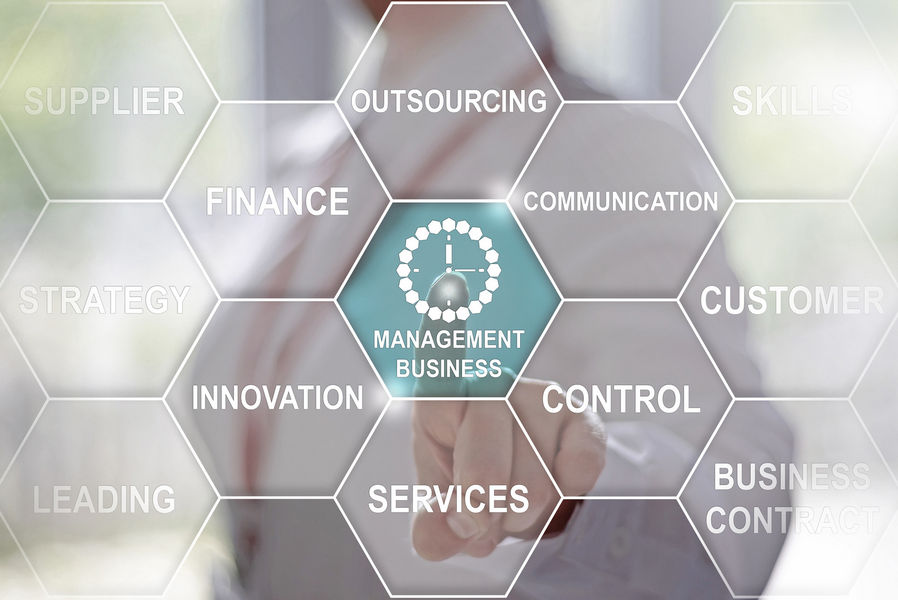 Business, technology and internet-management business button on virtual screens