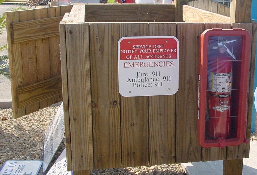 Emergency signage at Cedar Key Marina