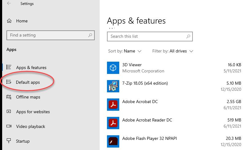 Default Apps Screenshot