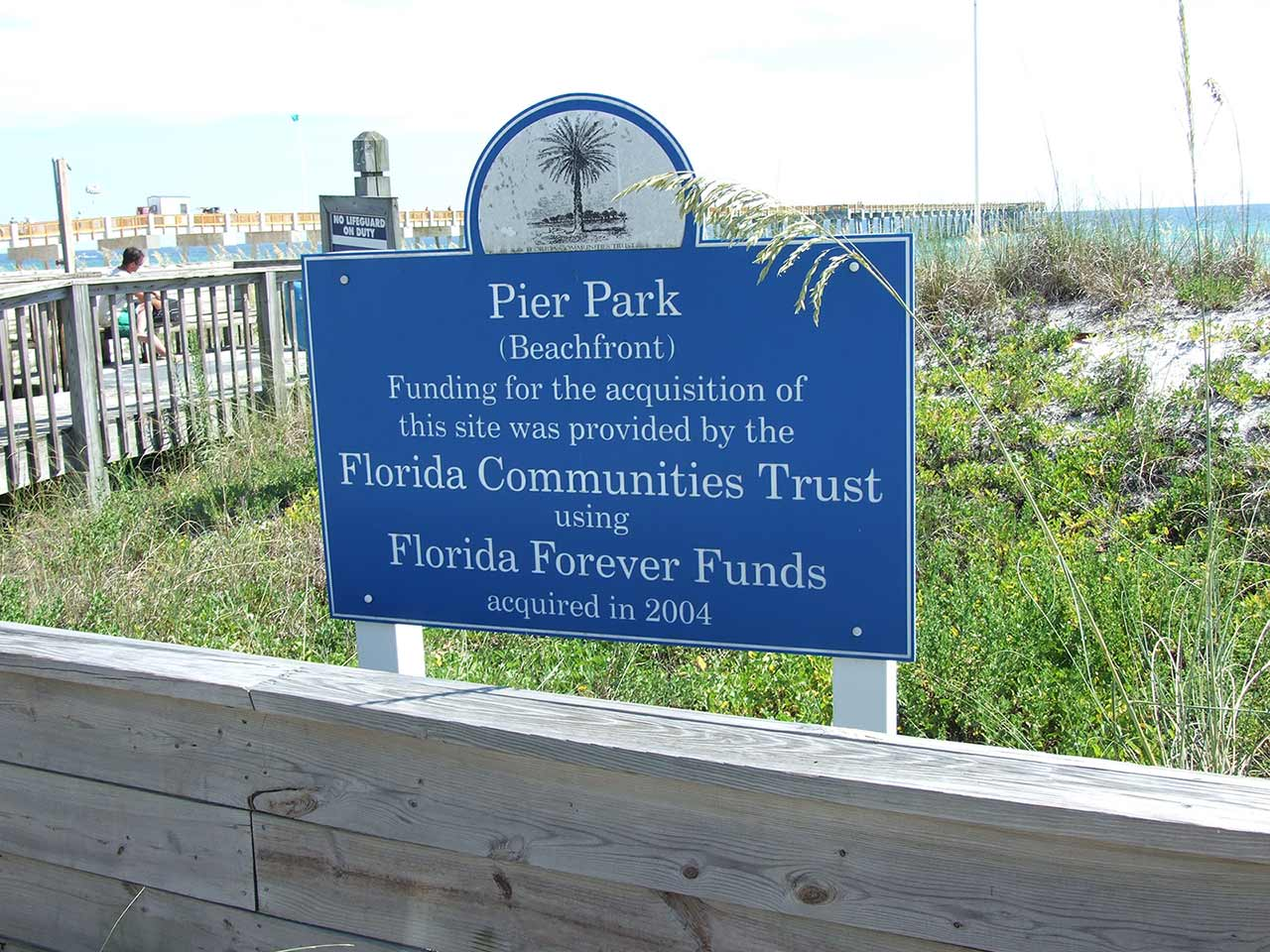 Florida Communities Trust, Florida Forever Funding sign at Pier Park in Panama City Beach