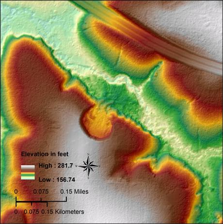 LiDAR derived model of a 1948 landslide in Gadsden County