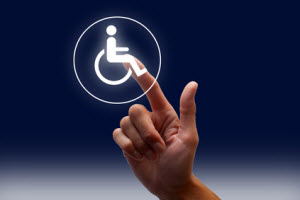 Hand with finger touching Handicap symbol