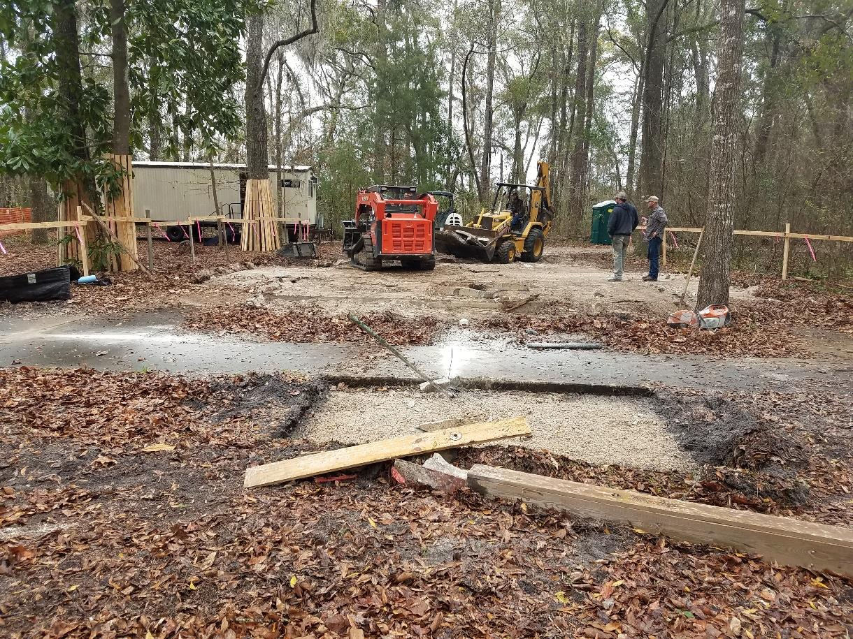 Clearing a site for a restroom replacement at Ichetucknee Springs State Park