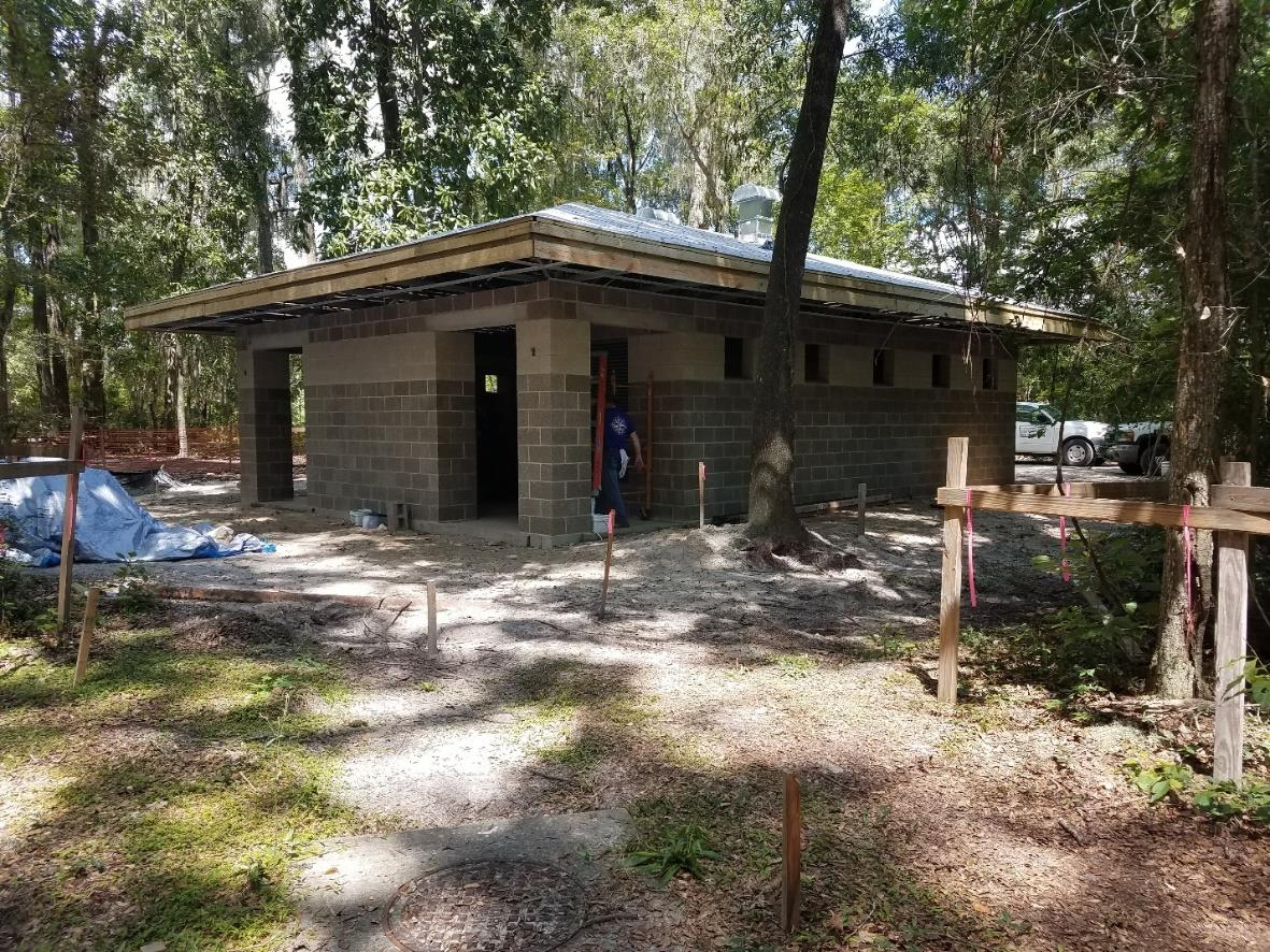Restroom replacement roof construction at Ichetucknee Springs State Park