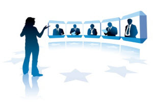 Icon of Woman hosting a Video Conference call