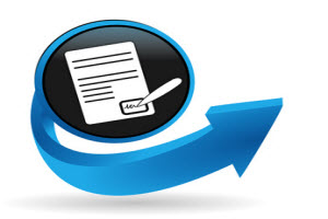 Icon of document being signed with blue arrow