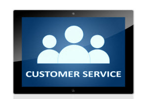 Icon of people with the words Customer Service