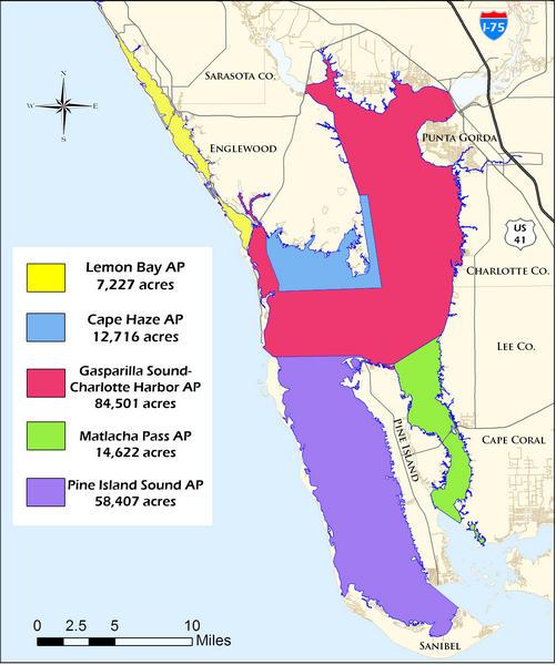 The Charlotte Harbor Aquatic Preserves complex encompasses five aquatic preserves and protects nearly 180,000 acres