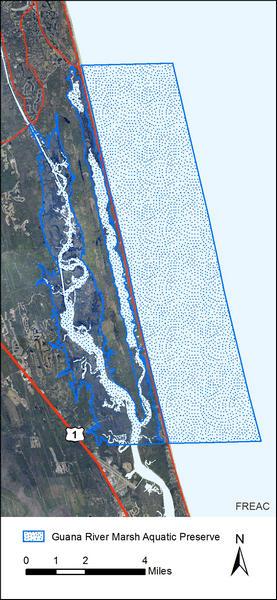 A map of the Guana River Marsh Aquatic Preserve Boundaries.