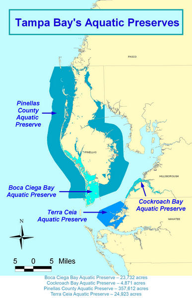 Map showing all four aquatic preserves in the Tampa Bay area
