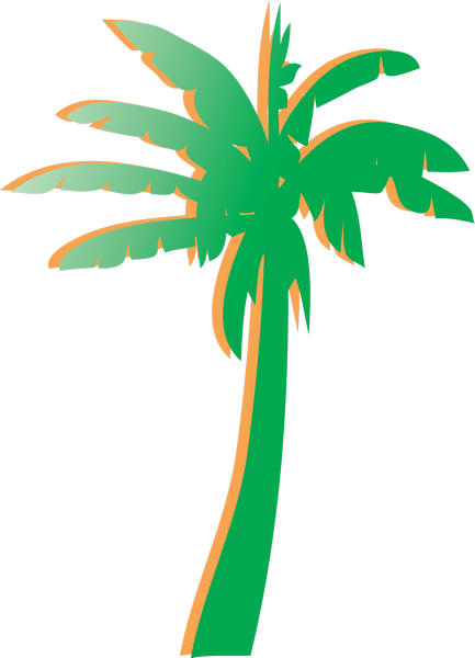 Orange and green palm tree used to identify Green Lodges in Florida.