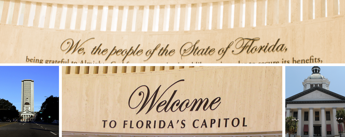 "A photo collage showing the new and old Florida State Capitol buildings along with the ""We The People of the State of Florida constitution preamble"""