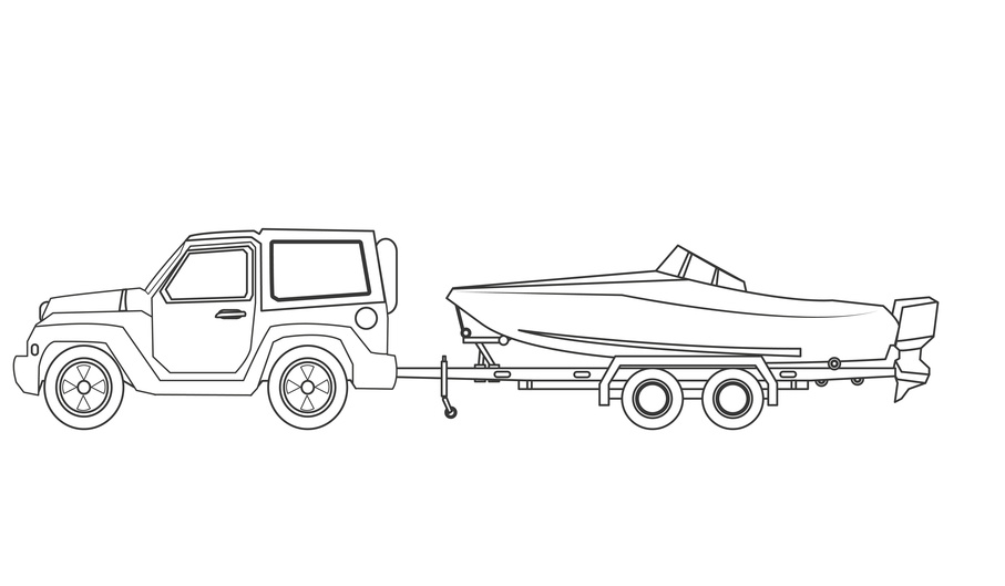Jeep with boat icon-Vehicle transportation travel and trip theme-Silhouette design