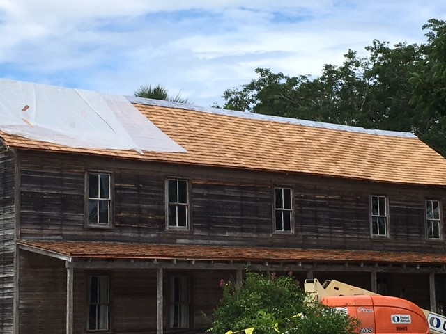 A picture of the Founder's House after a reroof project at Koreshan State Historic Site.