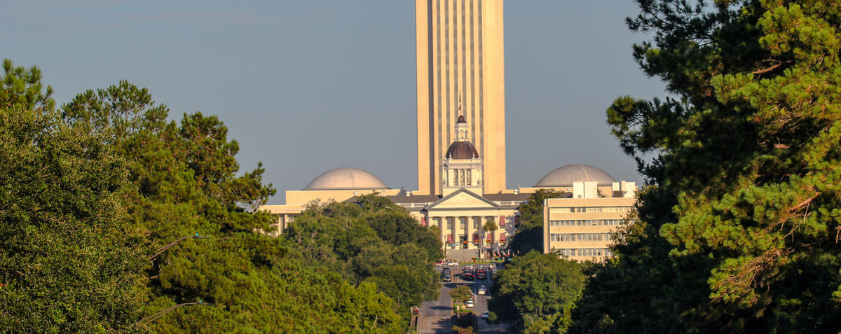 Looking west at the State of Florida Capitol building from Apalachee Parkway