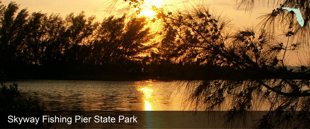 A golden sunset over the water at Skyway Fishing Pier State Park in Manatee County, Florida