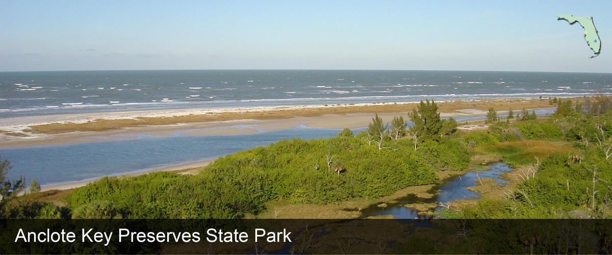 A view of the beach from the lighthouse at Anclote Key Preserve State Park in Pasco County, Florida