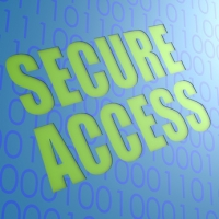 Secure Access in Green words over Blue Binary code background