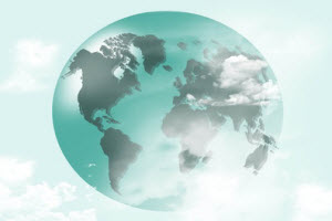Teal colored Globe in the clouds
