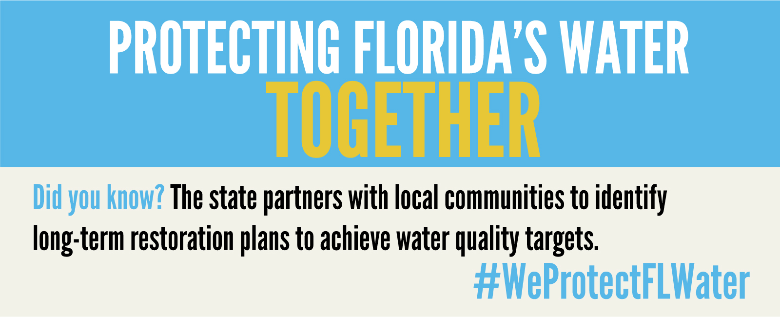 DYK? The state partners with local communities to identify long-term restoration plans to achieve water quality targets. #WeProtectFLWater