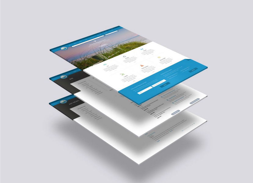 Three Stacked Website Pages