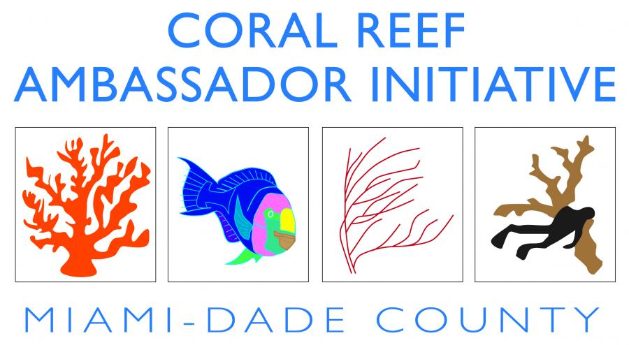 The official logo for the Coral Reef Ambassador Initiative, Miami-Dade County Florida.
