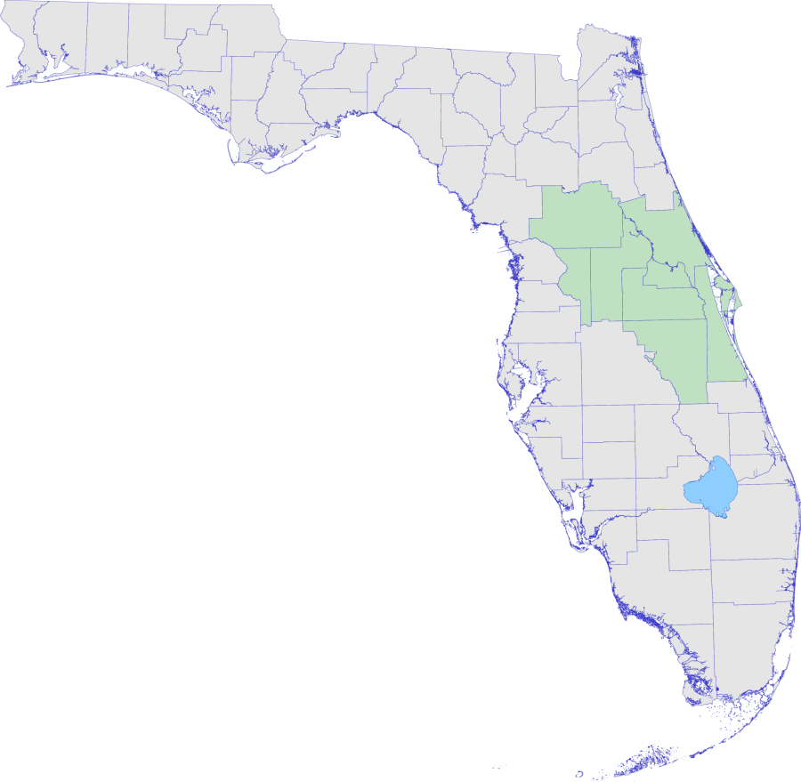 Florida map with Central District counties highlighted