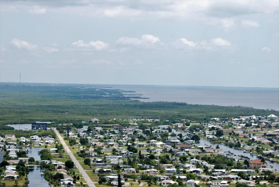 An aerial view of Punta Gorda and Charlotte Harbor.