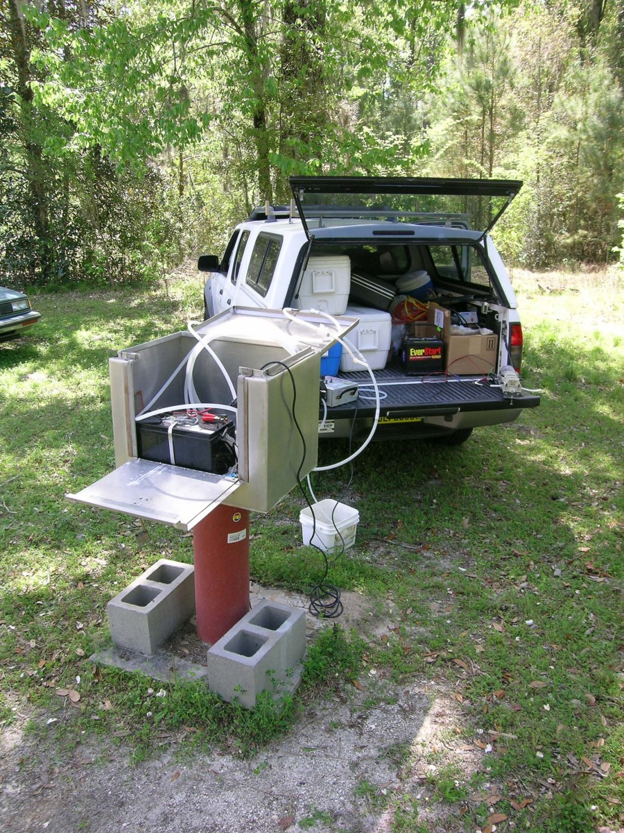 water quality sampling from tubing installed in Wakulla B-C Tunnel well in Edward Ball Wakulla Springs State Park