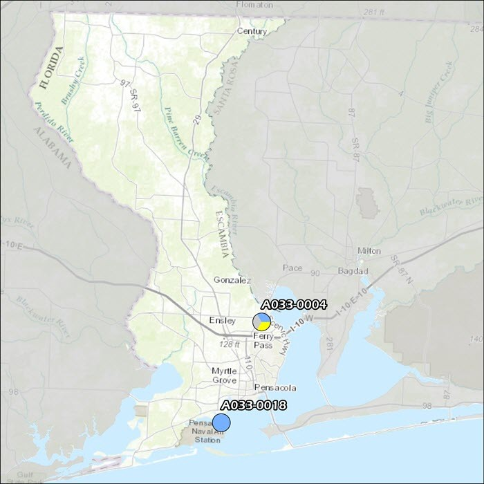 Escambia County Air Monitoring Map