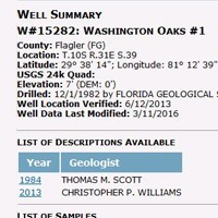 Florida Geological Survey Database Screenshot