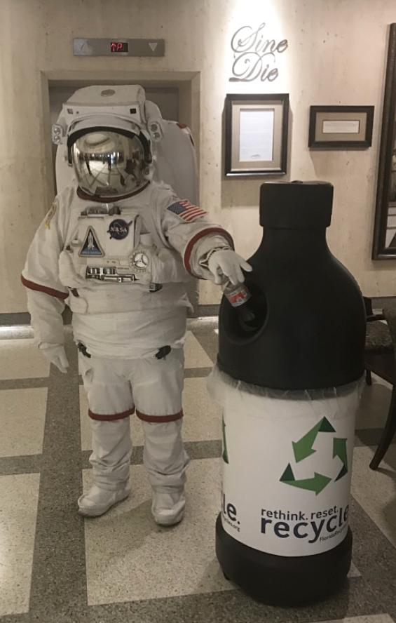 Florida Recycling Partnership Astronaut recycling at the Capitol Building in Tallahassee, Florida.