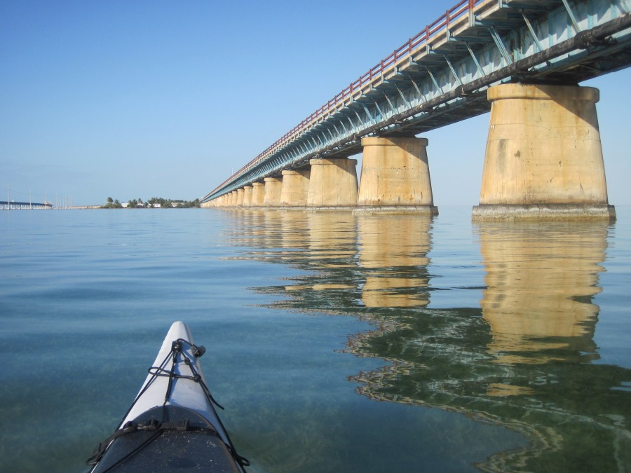 Kayaking the Florida Circumnavigational Saltwater Paddling Trail near the Seven Mile Bridge