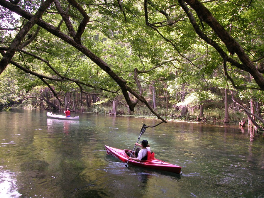 A man in a red kayak going down the river at Ichetucknee Springs State Park