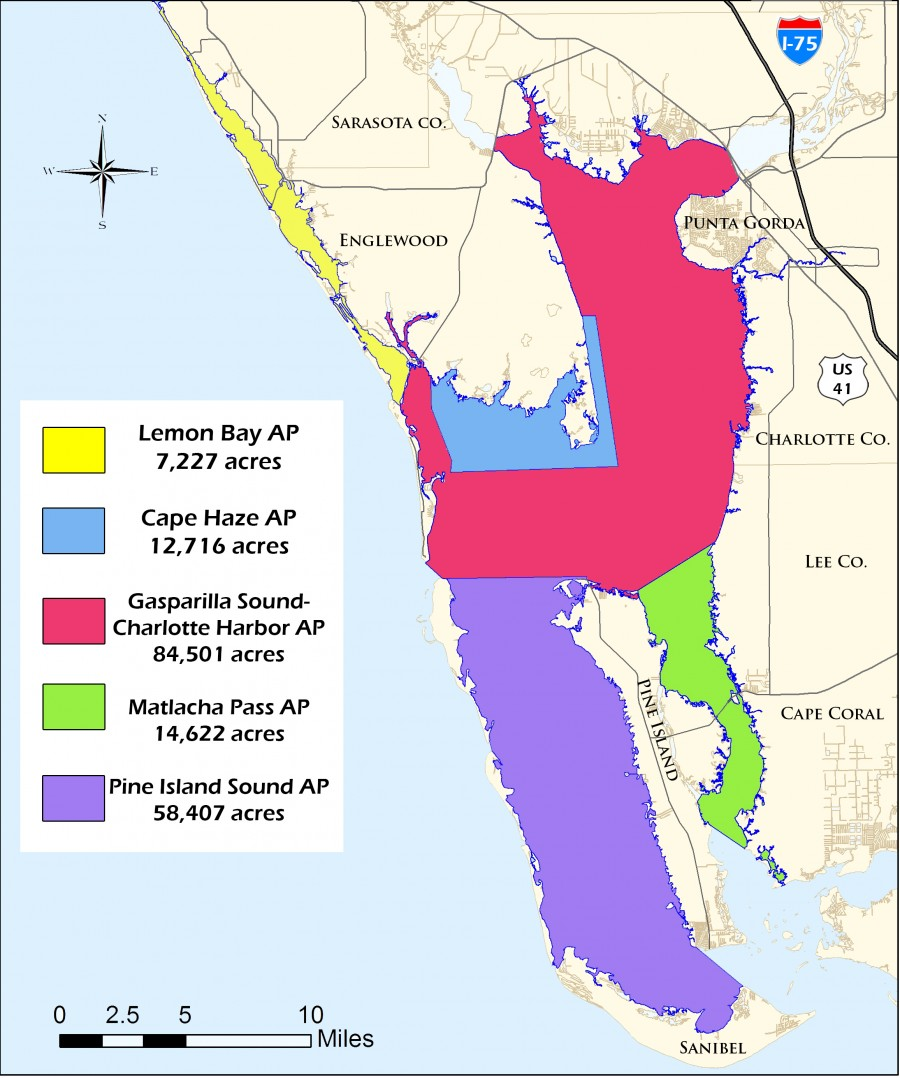 The Charlotte Harbor Aquatic Preserves complex encompasses five aquatic preserves and protects nearly 180,000 acres