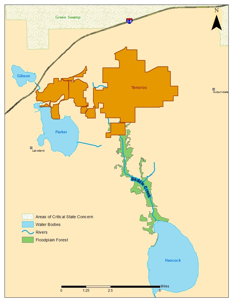 map of the Tenoroc Saddle Creek Restoration Project, located in the Upper Peace River Basin near Lakeland, FL