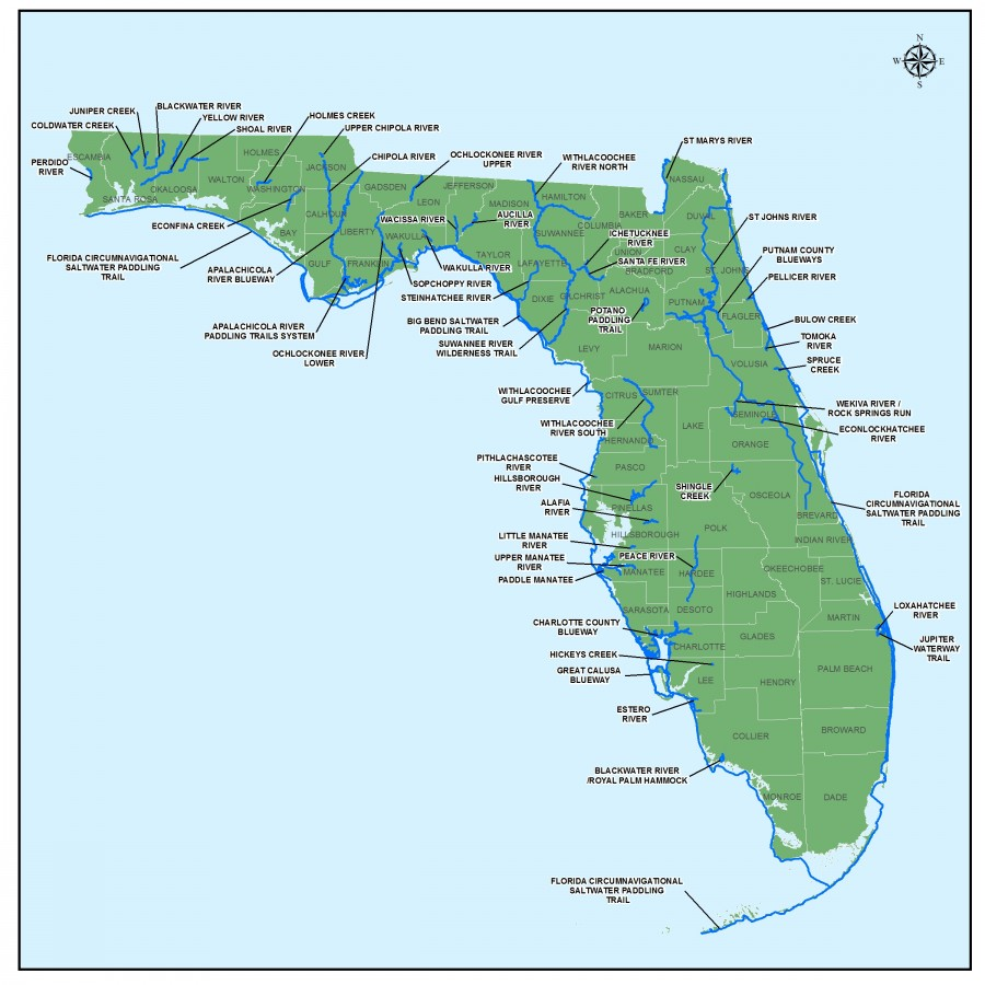 A map of Florida showing state-wide designated paddling trails