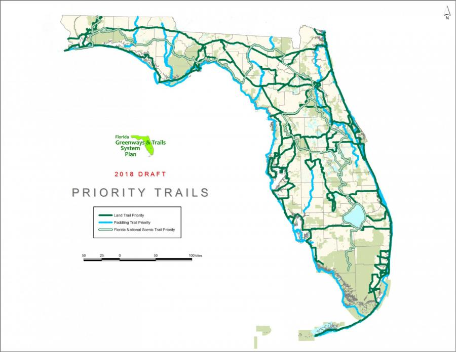 A map of Florida showing the 2018 through 2022 Priority Trails from the updated Florida Greenways and Trails System Plan draft.