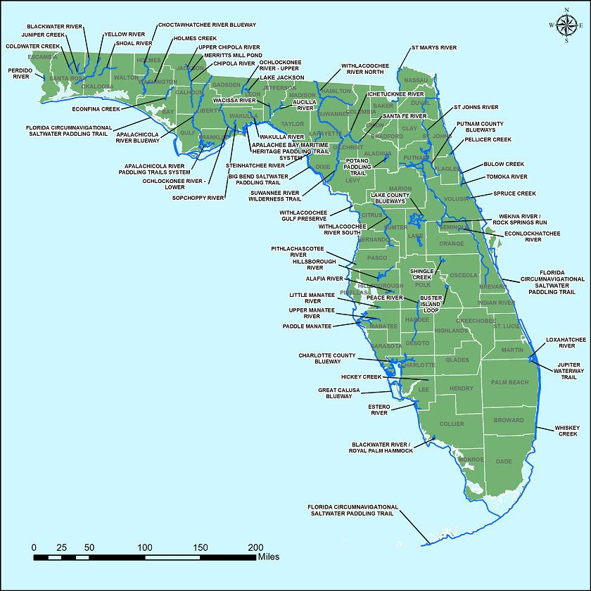 A map showing Florida's designated paddling trails