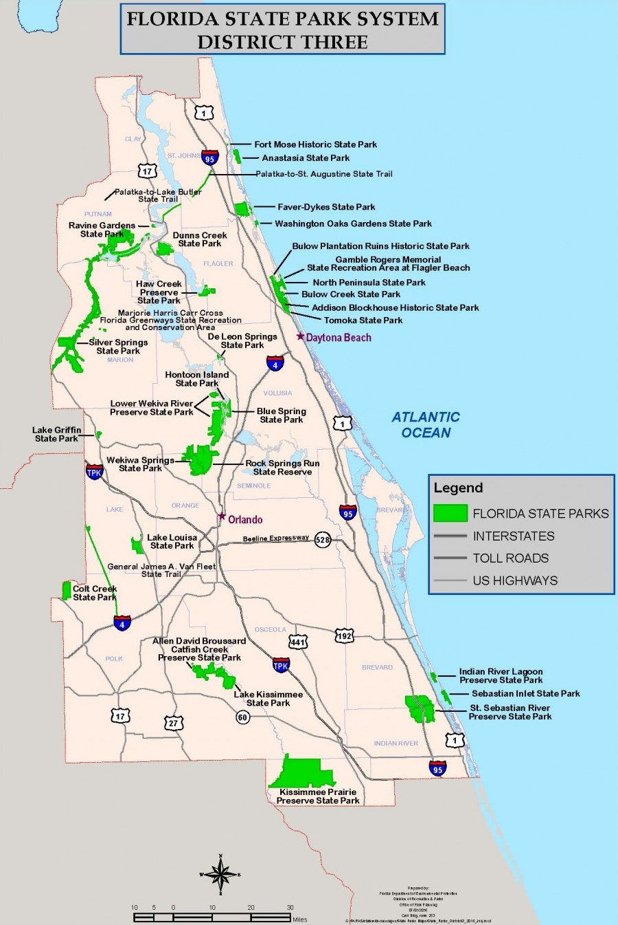 Flordia State Map.Florida Park Service District 3 Map Florida Department Of