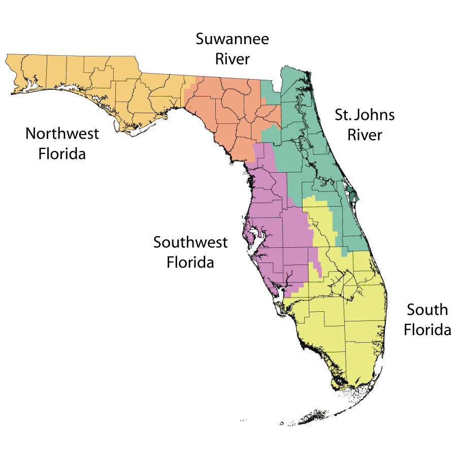 Map showing Florida's five water management district regions