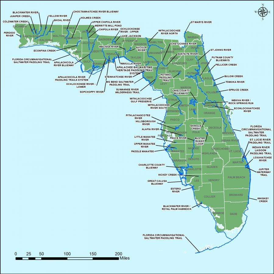 May 2018 map of Florida designated paddling trails by the Office of Greenways and Trails