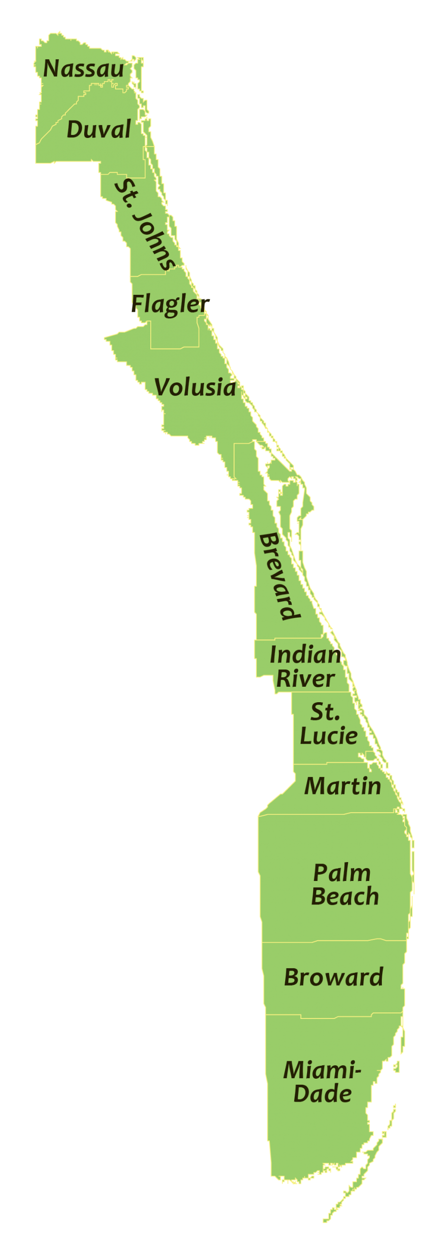 A map showing all of the coastal counties on Florida's Atlantic Coast