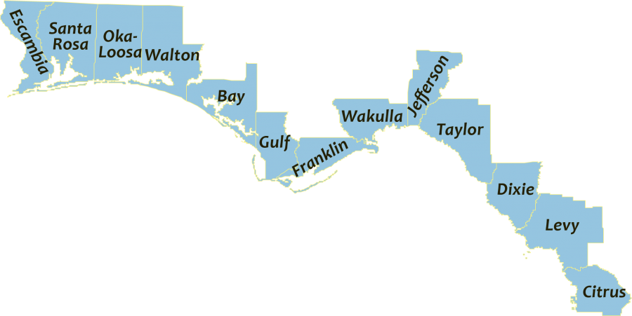 A map showing the coastal counties in the northwest Florida Panhandle