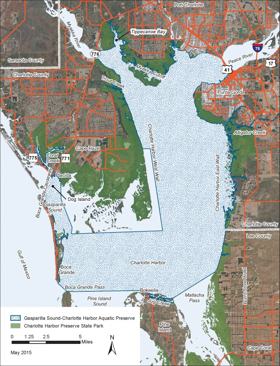 In-house graphic - map of Gasparilla Sound-Charlotte Harbor Aquatic Preserve