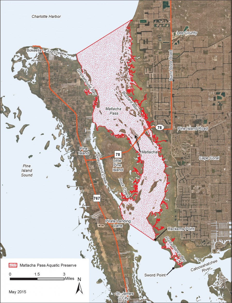 Matlacha Pass Aquatic Preserve map.