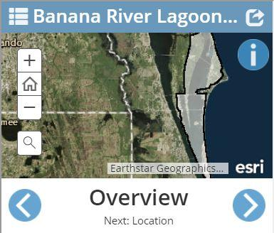"Banana River Lagoon Story Map ""overview"" page"